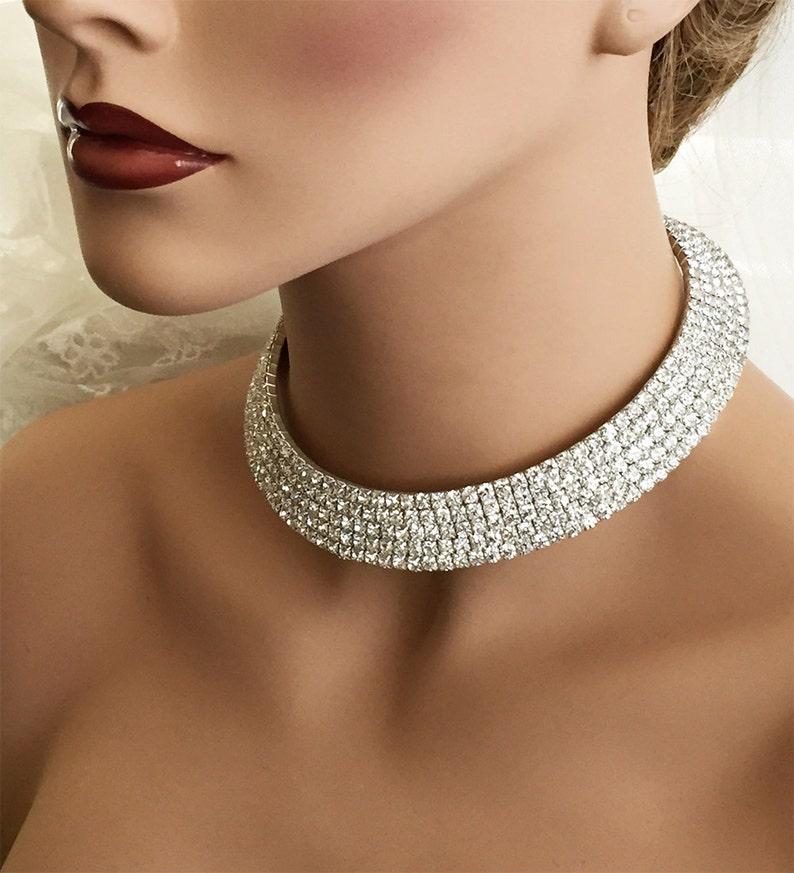 Wedding choker necklace crystal choker Bridal necklace earrings Bridal  jewelry set ballroom jewelry bridal choker bridesmaid jewelry