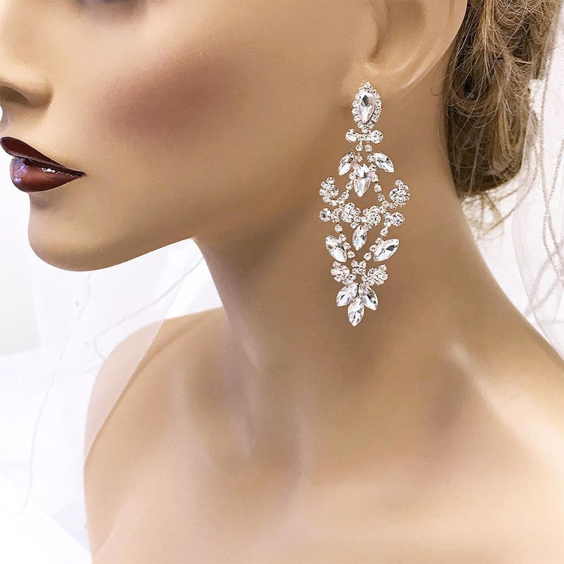 665728d43a589 Bridal Chandelier Earrings, Crystal Chandelier Earrings, CZ Bridal  Earrings, Victorian Drop Earrings, Prom Earrings