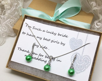 Bridesmaid jewelry set, Bridesmaid gift, bridesmaid necklace, bridesmaid earrings, Wedding jewelry set, Green pearl necklace earrings