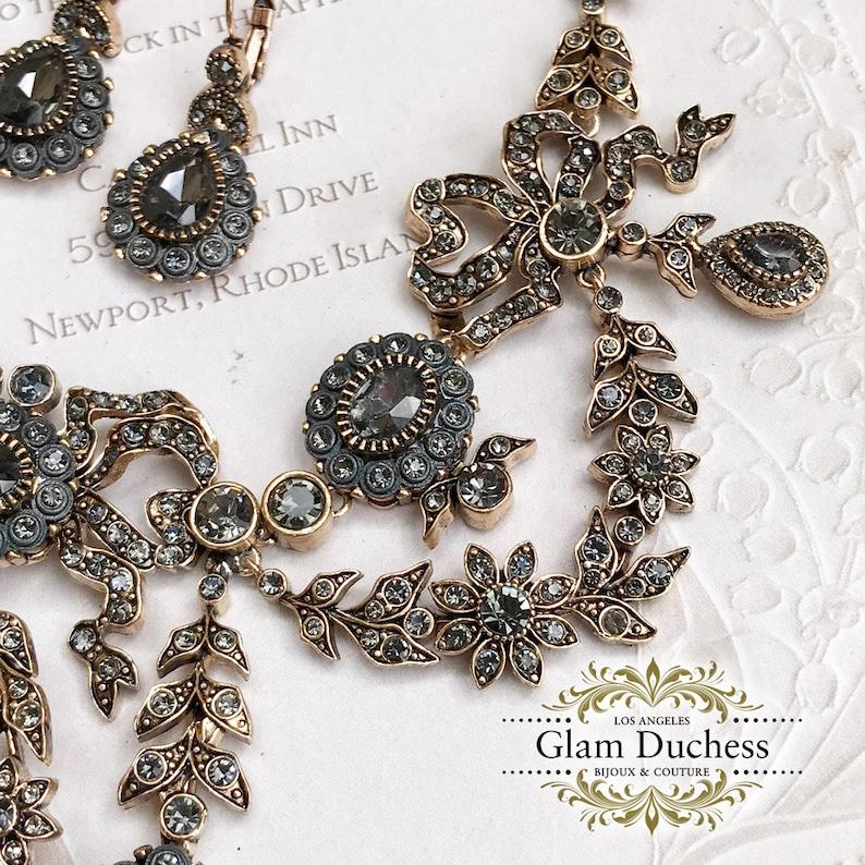 Bridal Necklace Earring Bracelet Set Bronze Antique Gold Ballroom Jewelry Set Bridal Jewelry Set Vintage Inspired Victorian Jewelry Set