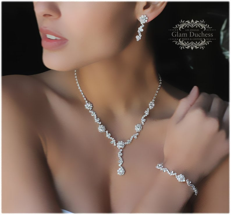 Bridal Jewelry Set Bridesmaid Jewelry Set Leaf Flower Crystal image 0