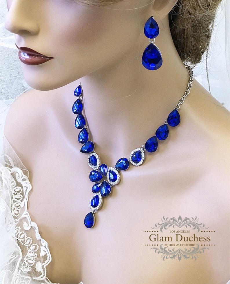 da34d14d990f0 Sapphire wedding jewelry Royal blue crystal jewelry set Bridal Jewelry bib  necklace earrings, Chunky rhinestone necklace statement