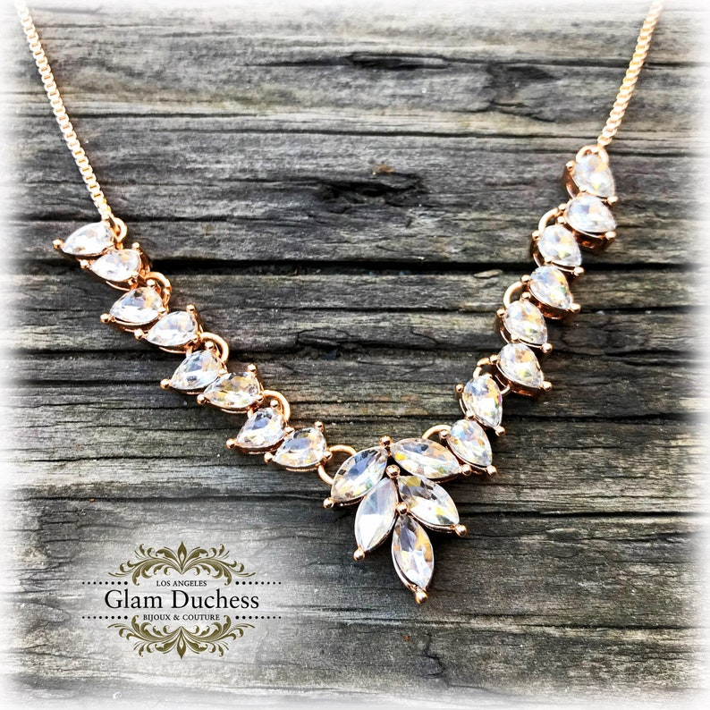 Bridesmaid Necklace Set Bridal Necklace Bridal Jewelry Set Gold Two Layered Necklace Set Long Layered Crystal Floral Necklace