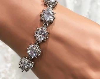 Bridal bracelet, Wedding jewelry,bridal jewelry, bridesmaid bracelet, CZ Crystal bracelet, crystal bracelet, bridesmaid jewelry