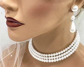 Bridal jewelry set, Bridal choker necklace earrings, Wedding choker, Ivory Victorian pearl jewelry set, bridesmaid jewelry, choker set