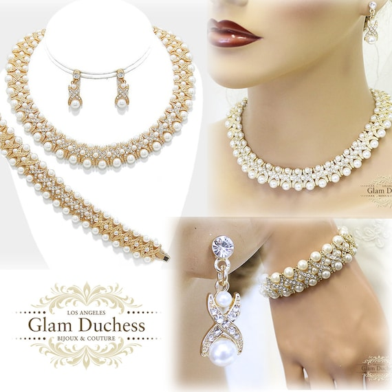 Pearl Necklace /& Earrings Jewelry Set Bridesmaid Bridal Wedding Silver Gold 15L