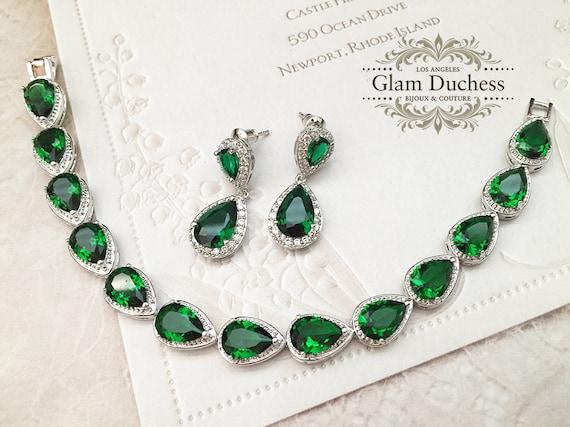 Emerald Jewelry Set Bridesmaid Gift Emerald Earrings Stud Bridal Jewelry Bridesmaid Earrings Set of 8,7,6,5,4,3 Bride Wedding Jewelry