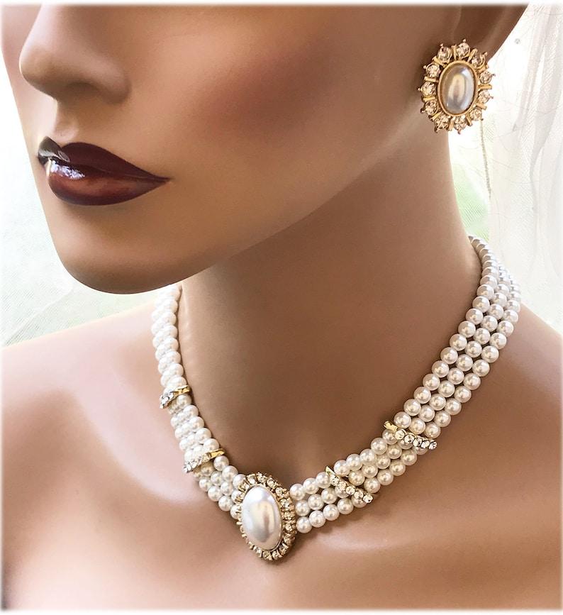 40b14b24ccfa6 Victorian Pearl Choker Earrings Set, Pearl Bridal Choker, Multi Strand  Pearl Necklace, Pearl Statement Necklace, Bridal Jewelry Set