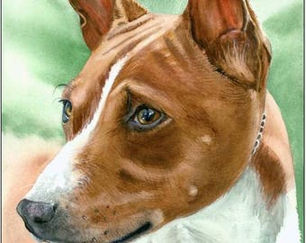 """Basenji dog, Red and White, Pet Portrait Dog Art Watercolor Painting Print Picture, Wall Art, Home Decor, """"Congo Dog"""" k9stein"""
