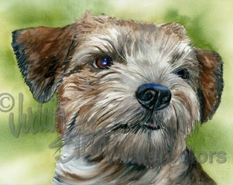 """Border Terrier, AKC Terrier, Pet Portrait Dog Art, Giclee Watercolor Painting Print, Wall Art, Home Decor, """"On the Border"""" by Judith Stein"""