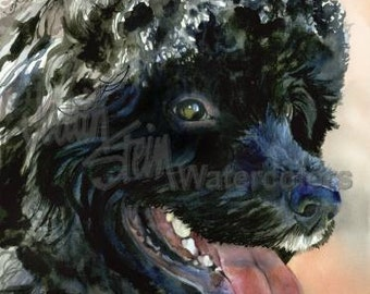 """Portuguese Water Dog, Black, AKC Sporting, Hunting Dog Pet Portrait, Watercolor Painting Print, Wall Art, Home Decor, """"Part of the Crew"""""""
