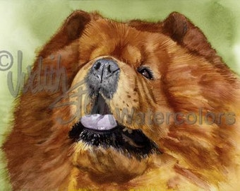 """Chow Chow, Chinese, AKC Non Sporting, Pet Portrait Dog Art Watercolor Painting Print, Wall Art, Home Decor, """"Puffy Lion Dog"""" Judith Stein"""