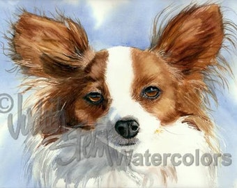 """Papillon, AKC Toy, Lap Dog, Pet Portrait Dog Art Giclee Watercolor Painting Print, Wall Art, Home Decor, """"Madame Butterfly"""" Judith Stein"""