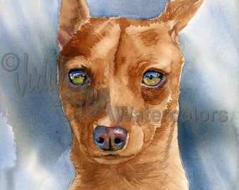 """Miniature Pinscher, Red, AKC Toy, Pet Portrait Dog Art Watercolor Painting Print Picture, Wall Art, Home Decor, """"King of the Toys"""" k9stein"""