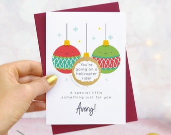 Personalised Christmas Baubles Gift Scratch Card