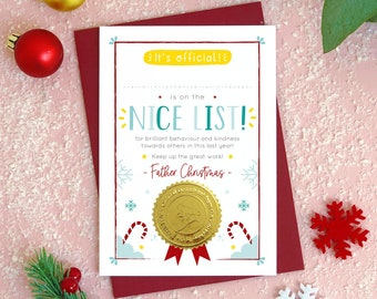 Nice List Certificate Card