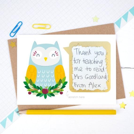 Thank you teacher scratchcard thank you teacher card owl etsy image 0 m4hsunfo