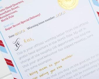 Letter from santa etsy warning letter from santa spiritdancerdesigns Images