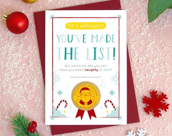 Naughty or Nice Christmas List Scratch Card