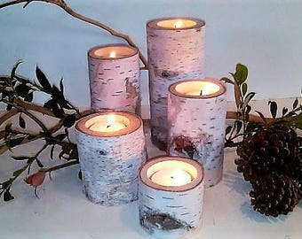 5 birch tree branch candle holders rustic wedding candles wood tree branch candles birch tree logs event candles - Christmas Log Candle Holder Decorations