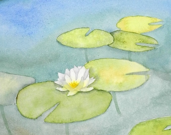 Among the lilypads - Original watercolour painting - Waterlily - pond painting - natural painting - scenic painting