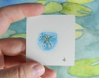 Water strider – Among the lilypads - Botanical Illustration – miniature painting – miniature jewelry – animal painting -watercolour painting
