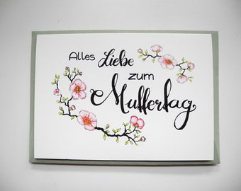 Cherry Blossoms – Mother's Day card – Spring card – flower card - watercolour card – handlettering card