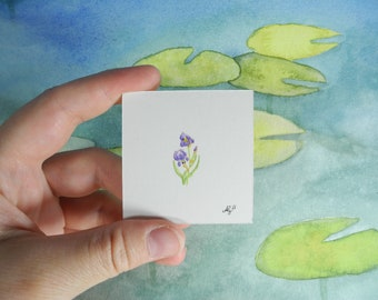 Iris - Among the lilypads  - Botanical Illustration – miniature painting – miniature jewelry – flower painting - watercolour painting