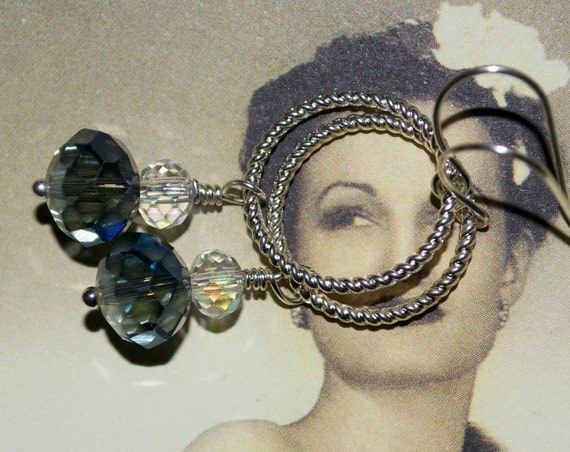 Twisted Hoop Crystal Earrings