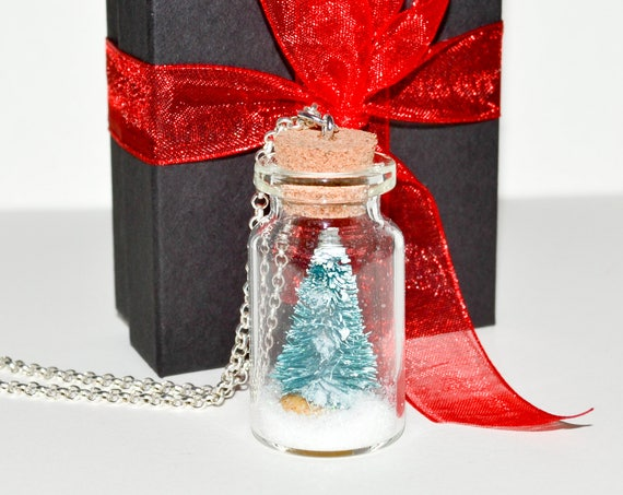 Christmas Tree Bottle Necklace - Silver