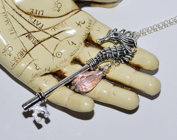 Seahorse Key Necklace - Pink / Silver