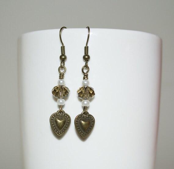 Heart Earrings, Bronze Heart Drop Earrings, Crystal Earrings, Heart Charm Dangle Earrings, Crystal Jewelry, Brown Earrings, Subtle Jewelry