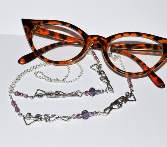 Skeleton Glasses Chain - Purple