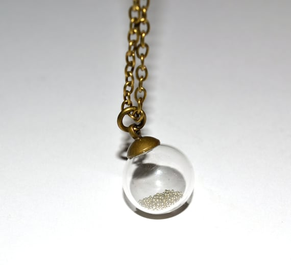 Glass Globe Necklace, Glass Ball Pendant, Clear Glass Orb, Bottle Necklace, Small Glass Ball, Silver and Bronze, Mixed Metals, Glass Orb