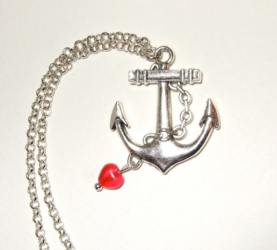 Anchor Necklace, Dangling Heart, Anchor and Heart, Anchor Pendant, Nautical Necklace, Rockabilly Jewelry, Anchor Jewelry, Silver Anchor