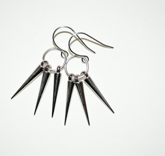 Spike Earrings, Silver Spikes Drop Earrings, Modern Jewelry, Urban Jewelry, Multi Spike, Spike Jewelry, Punk Spike Jewelry, Spiky Earrings