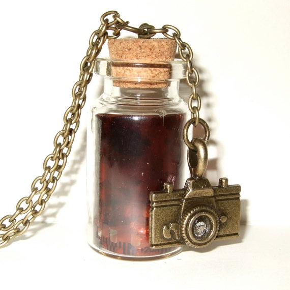 Bottle Necklace, Camera Film, Negative Pendant, Vintage Negative, Camera Necklace, Photography Jewelry, For Photographer, Bottle Pendant