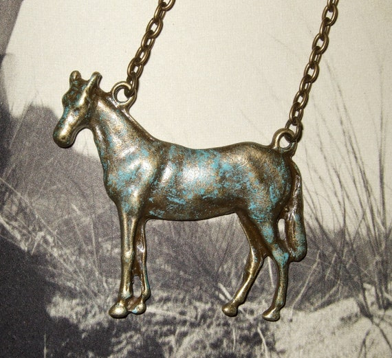Patina Horse Necklace
