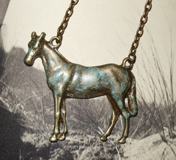 Horse Necklace, Bronze Patina, Cowgirl Chic, Large Horse Charm, Animal Pendant, Cowboy Jewelry, Vintage Style, Cowgirl Necklace, Aged Patina