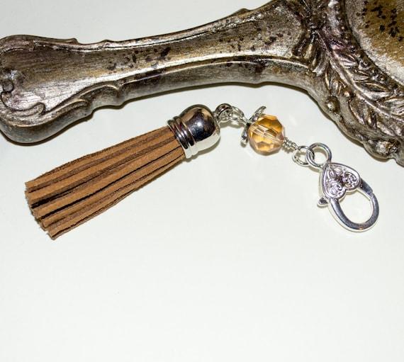 Brown Tassel Keyring, Tassel Key Charm, Boho Purse Charm, Boho Tassel Clip, Brown Handbag Clip, Zipper Pull, Bag Charm, Tassel Zip Pull Clip