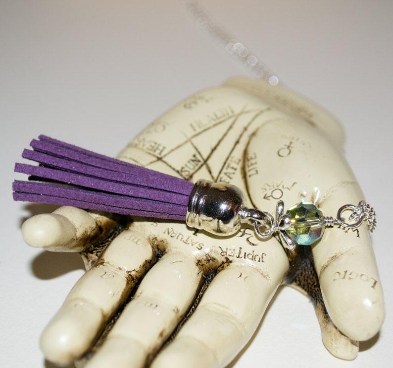 Purple Tassel Necklace Boho Fringe Jewelry Long Boho image 0