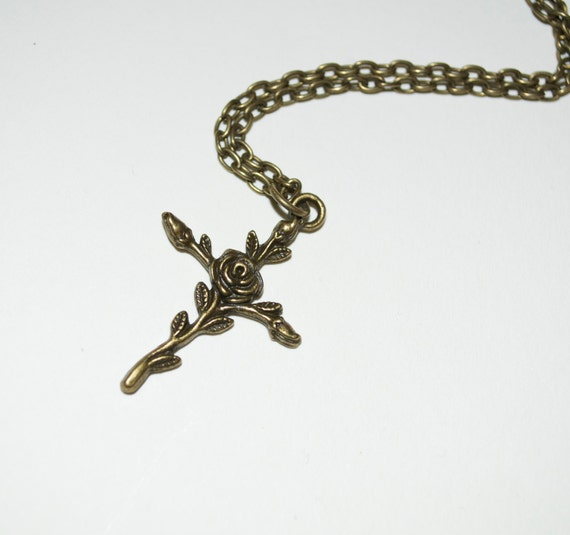 Crucifix Pendant, Rose Cross Necklace, Bronze Cross, Flower Cross, Feminine Crucifix, Simple Necklace, Everyday Jewelry, Rose Crucifix