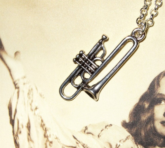 Trombone Necklace, Instrument Charm, Band Geek Pendant, Silver Trombone, Music Charm Jewelry, Simple Necklace, Musical Jewelry, Trombonist