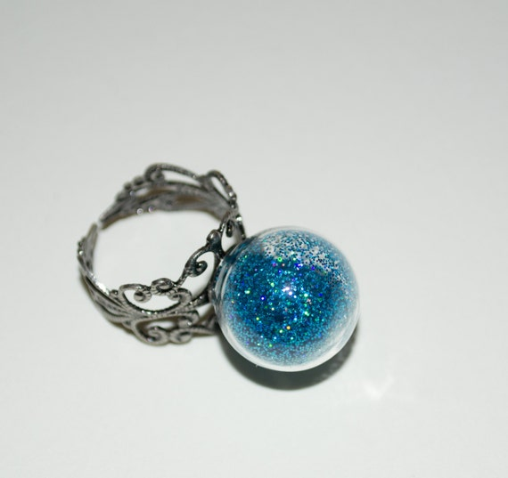 Glass Ball Ring, Statement Ring, Glass Globe, Turquoise Glitter Ring, Cocktail Ring, Adjustable Ring, Glitter Ring, Glass Ball Jewelry