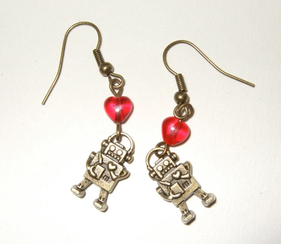 Robot Earrings, Retro Style Robot Jewelry, Robot Hearts, Dangle Earrings, Charm Drop Earrings, Geek Jewelry, Retro Robots, Quirky Jewelry