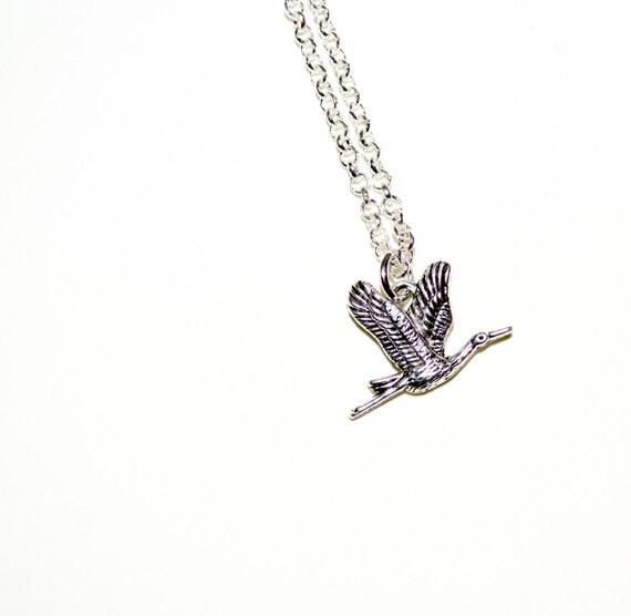 Flying Crane Necklace, Bird Necklace, Crane Charm Necklace, Oriental Bird Jewelry, Silver Bird Charm Jewelry, Bird Pendant, Crane Jewelry