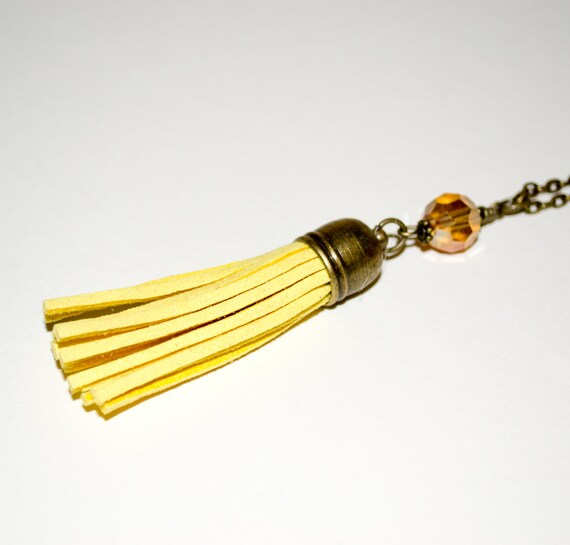 Yellow Tassel Jewelry, Boho Jewelry, Tassel Necklace, Yellow Jewelry, Layering Necklace, Long Necklace, Yellow Necklace, Long Boho Necklace