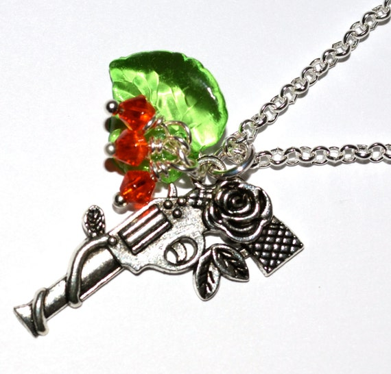 Gun Necklace, Flower Pistol, Guns and Roses, Rock Chick Jewelry, Gun with Flowers, Rose Gun Necklace, Silver Gun Charm, Ladies Gun Pendant,