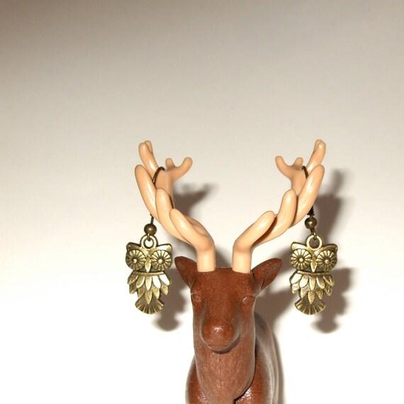 Owl Earrings, Woodland Jewelry, Small Owl Earrings, Owl Drop Earrings, Simple Charm Jewelry, Bronze Owl Earrings, Small Owl, Dangle Earrings