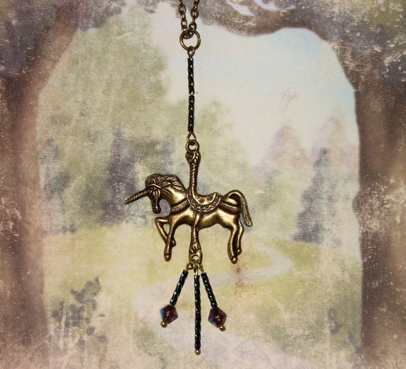 Carousel Horse Necklace, Merry Go Round, Fairground Necklace, Fairytale Jewelry, Unicorn Necklace, Beaded Pendant, Carousel Unicorn, Quirky